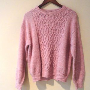 Pink Cable Knit Sweater | Fisherman Sweater | M L